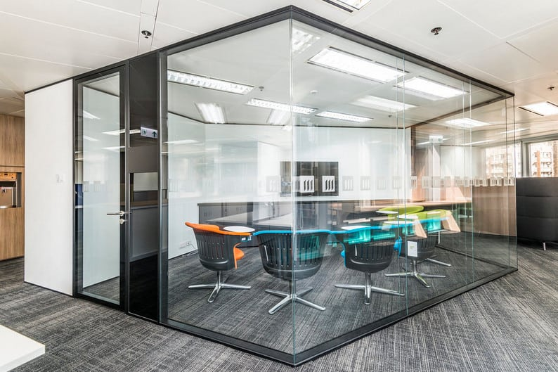 maximise office space using glass partitions