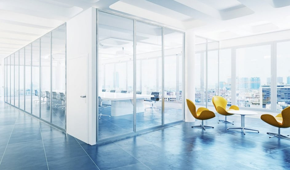 modern glass partitions in a sydney office