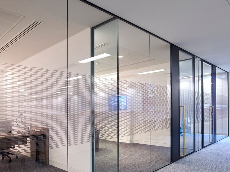 new designs for glass partitioning office spaces